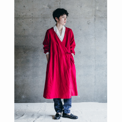 Fog Linen riitta wrap coat poppy red