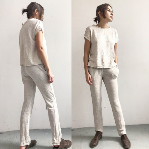 skinny pants stretch knit linen