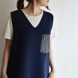F/CE knit vest one-piece