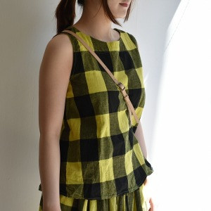 Veritecoeur block check sleeveless pullover