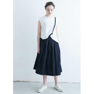 gram light denim one shoulder skirt